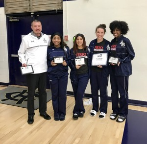 Left to right: Coach Cliff McDaniel, Aimee Brown, Zayda Gonzalez, Kayla Beattie, and Jayzhia Softly